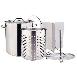 84qt Crawfish Boiling Cooker Kit Stainless Steel Stockpot Deep Turkey Fryer Pot