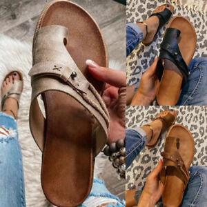 Women's Orthotics Sandals Correction PVC Fabric Open Toe Slippers Flat Heel Flip