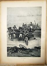 ESTAMPE N&B Marine française Débarquement BERNE-BELLECOUR  typogravure 1885
