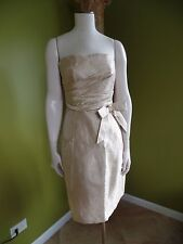 KAY UNGER 100% Silk Brocade Strapless Cocktail Evening Fit Flare  Sheath Dress 4