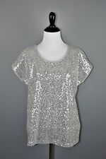 By Chico's Heather Gray Sequin Short Sleeve Top Chico's 1 Women's Medium NEW