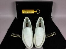 ZILLI GENUINE ALLIGATOR WHITE LEATHER MEN'S LOAFERS MOCCASINS SHOES US Size 11