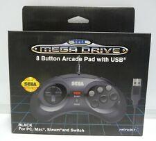 OFFICIAL SEGA MEGA DRIVE RETRO-BIT BLACK GAMEPAD 8 BUTTON USB FOR PC MAC STEAM