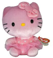 "TY Hello Kitty Ballerina Beanie Babies Polka Dot Pink Tutu Plush 6"""