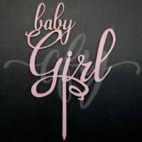 Baby Girl Cake Topper Acrylic Script Frosted Pink Baby Shower Gender Reveal