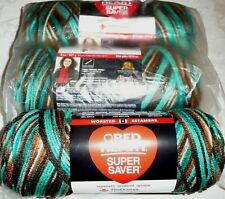 Red Heart Super Saver Yarn Lot of 3 Skeins REEF 100% Acrylic