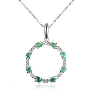 Solid 14K Round Gemstone Real Natural Diamond Delicate Round Pendant Jewelry