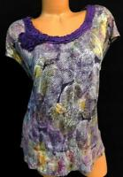 Daisy fuentes beige purple spotted floral applique round neck spandex top XL