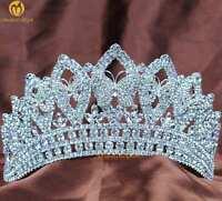 "Beauty Pageant Tiara Crown 3.5"" Clear Crystal Headband Veil Wedding Bridal Prom"