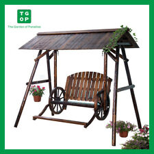 Outdoor Garden Patio Wood Adirondack Double Swing with Foot Rest and Cover