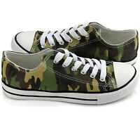 New All Star Size Womens Shoes Low Top Canvas Suede Sneakers Unisex Green Camo