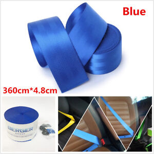 Blue Universal Car Racing Front 3 Point Safety Retractable Seat Lap Belt Harness