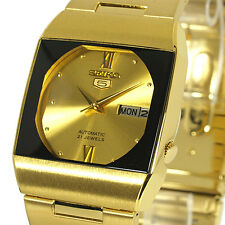 SEIKO 5 AUTOMATIC CASUAL DRESS SQUARE GOLD & BLACK TONE FACE SNY012J1