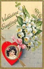 Valentine~Lil Girl on Gold in Red Heart~Lily of the Valley~TUCK Floral Missives