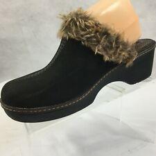 Crocs Clogs Mules Sz 8 Slip On Brown Suede Faux Shearling Lined Womans Shoe