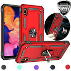 For Samsung Galaxy A10e A20 A50 Case, Magnetic Metal Ring Stand +Tempered Glass