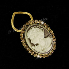 Cameo Scarf Clip, Scarf Ring, Topaz Crystals, Coffee Cream Cameo, Antique Gold