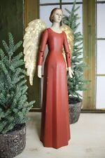 Schöner Vintage Shabby Meander Engel Handarbeit Handbemalt Rot 48 cm NEU