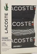Lacoste Cotton Stretch 3-Boxer Briefs Medium 32-34  Navy/Navy-White Stripe
