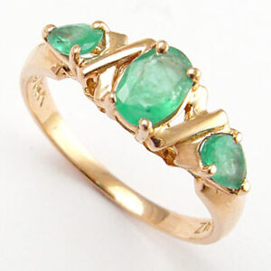 14k Rose Gold Genuine Emerald Three Stone Mother's Ring #R1039