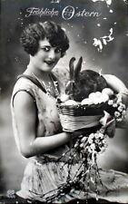German Happy Easter Postcard 1930 ties German Reich Black and White