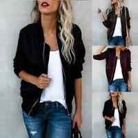Vintage women's bomber jacket Stand-Up Collar Coat Zipped Long Sleeve Jacket UK