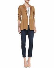 SZ XXS Eileen Fisher Camel Open Front Stand Collar Suede Leather Jacket NWT $898