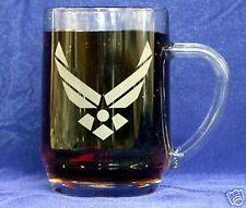 US Air Force Emblem etched 20oz Beer/Coffee Mug