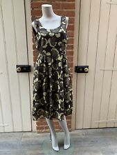 Vintage Laura Ashley Brown Green Floral Cotton Dress 14