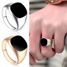 18ct Gold Filled Black Onyx Mens Signet Wedding Band Pinky Ring Size 7-12 NEW