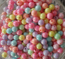 8MM Multi-Color AB Color Plated Acrylic Round Spacer Loose Beads 50PCS. New