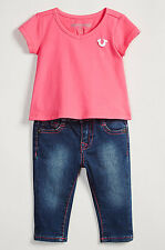 NEW AUTHENTIC TRUE RELIGION BABY GIRLS LOGO TEE T-SHIRT JEANS 2PC GIFT SET 12M