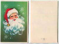 VINTAGE CHRISTMAS SANTA CLAUS SMILING RED HAT BELL SNOWFLAKES ART GREETING CARD