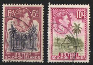 British Solomon Islands 1939 6d 1942 10s
