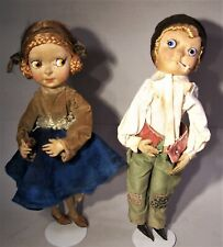 Fantastic Pair of Antique Googly Eye Cloth Dolls, probably made in France