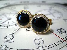 Classic Golden Round Onyx cufflinks GS201
