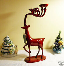 REINDEER DEER LRG RED PEARL METAL CANDLE HOLDER CHRISTMAS CENTERPIECE DECOR GIFT