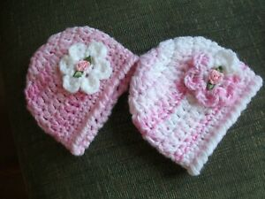 PACK X 2 SOFT CHUNKY CROCHETED SPARKLY HATS  TO FIT PREM,TINY AND BABY DOLLS
