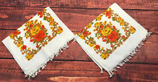 VTG FASHION YELLOW FLORAL set of 2 rose hand BATH TOWELS MCM decorator autumn