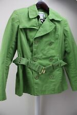 Jones Wear Cotton Blend Green Double Breasted Belted Lined Pea-coat Size - Large