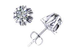 0.40Ct Round Cut Diamond Buttercup Stud Earrings 14k Gold 6Prong I SI2 Push Back
