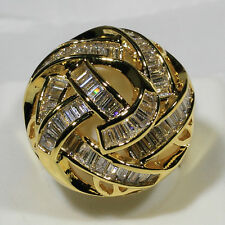 18K Yellow Gold Filled AAA Zircon Vintage Cluster Royal Cocktail Ring R7511 SZ 7