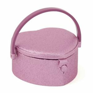 HobbyGift Small Heart Shaped Sewing Basket - Pink Rose Design Storage