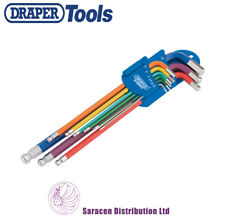 DRAPER METRIC COLOURED EXTRA LONG BALL ENDED HEX/ALLEN KEY SET, 9 PIECE - 66134