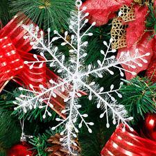 5 Manojo clásico copos de nieve brillante ornamentos Navidad árbol fiesta casa