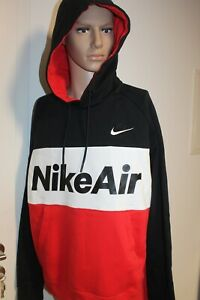 Nike Air Men's Hoodie Sweater Pullover Red Black White Size L New With Label