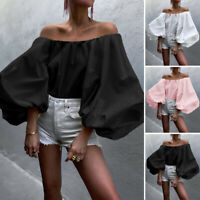 Womens Puff Sleeve Tops Off Shoulder Sexy Cocktail Shirt Ladies Blouse Loose Tee