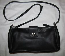 COACH 9818 black leather turn lock demi tote shoulder bag   ****