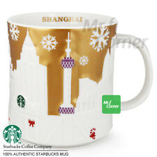 SM190 16oz Starbucks China Shanghai City Gold Xmas Relief Mug 2014