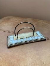 Metal Art Deco Style Letter Rack Holder Desk Mother Of Pearl Type Decoration